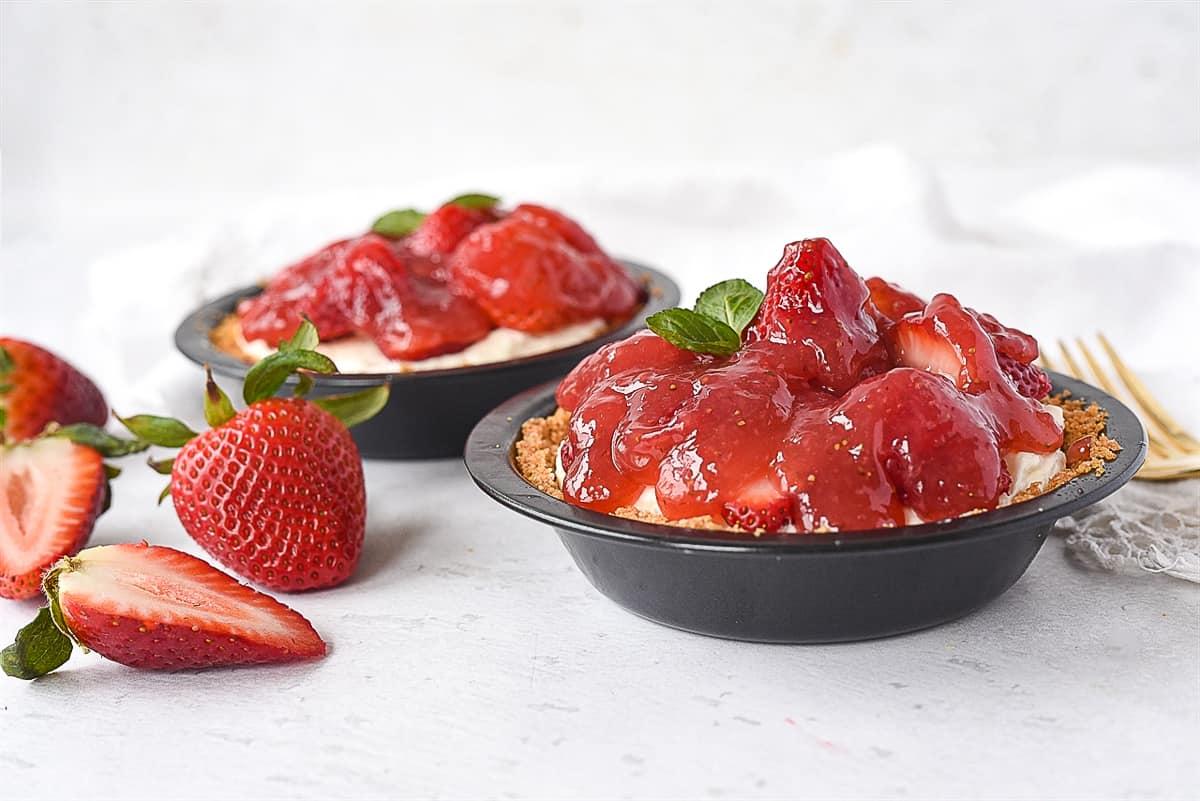 two mini strawberry pies