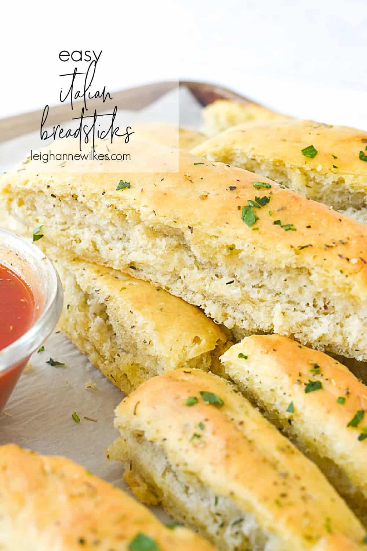 pan of italian breadsticks