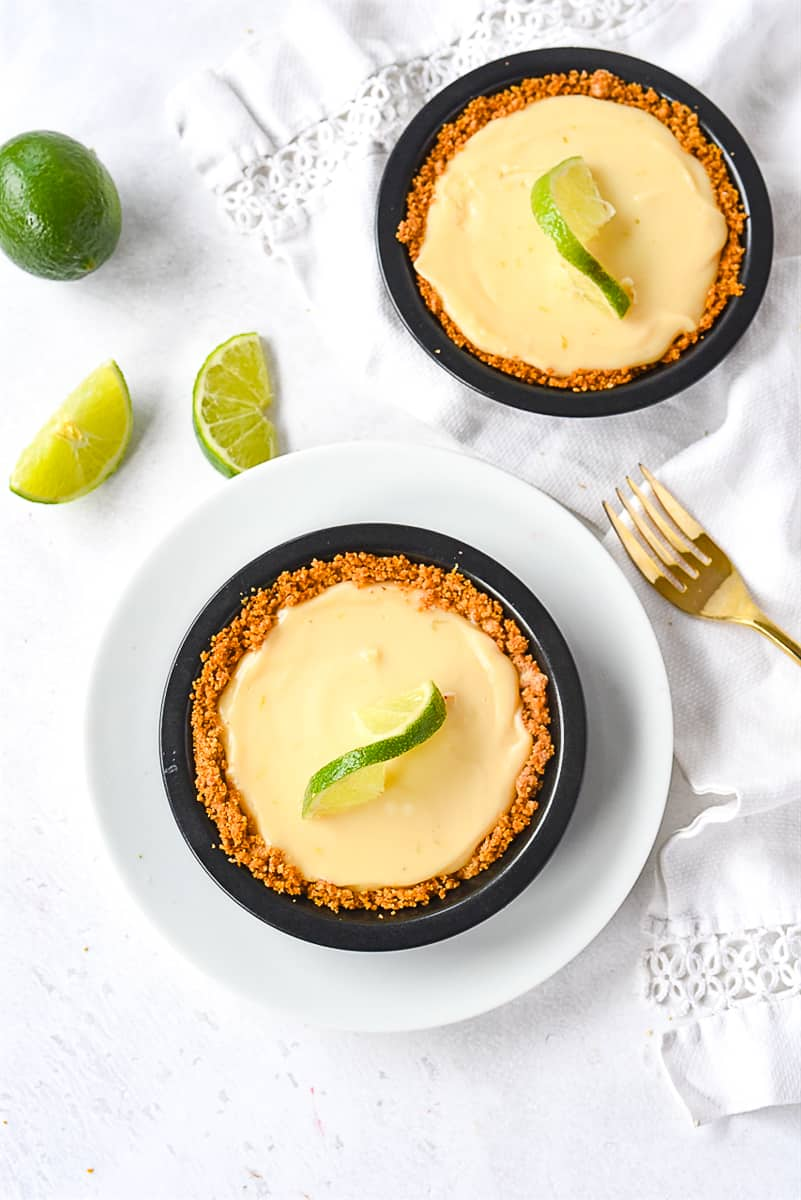 overhead shot of individual key lime pies