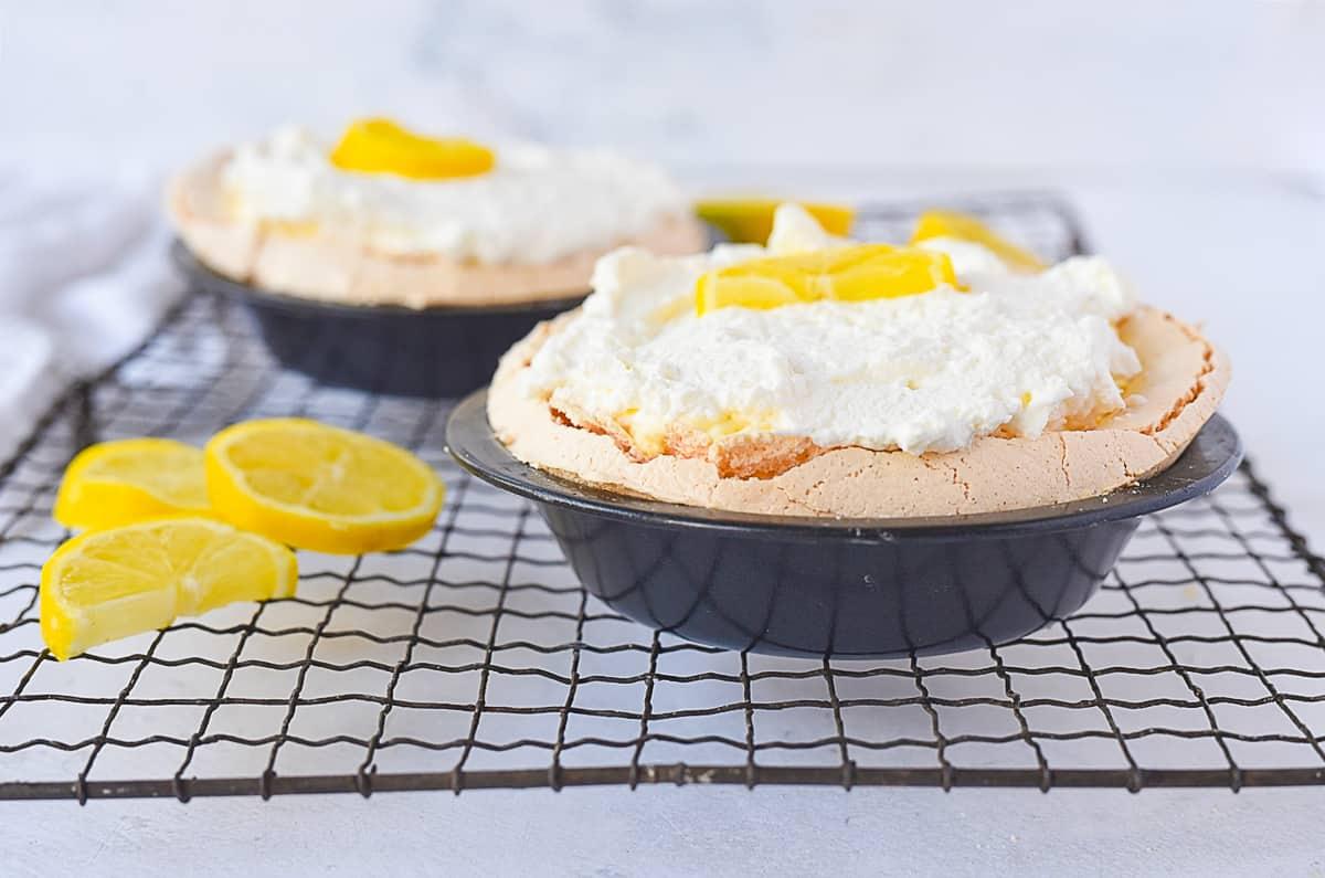 lemon angel pie on a cooling rack