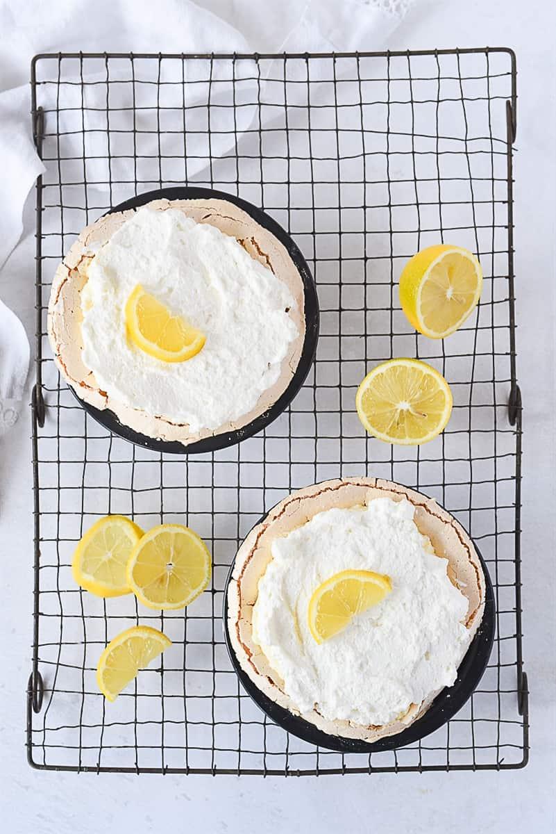 overhead shot of two lemon pies.