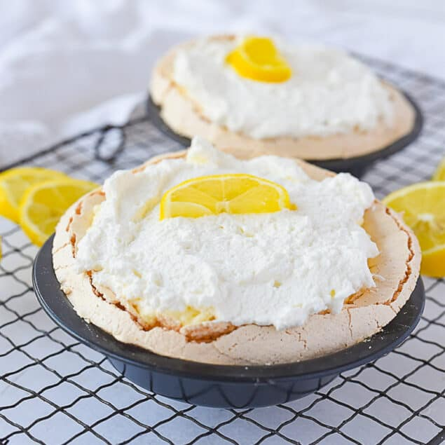 two lemon angel pies on a cooling rack