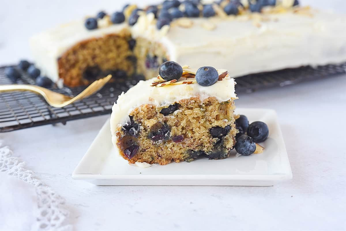 piece of blueberry banana cake on a plate
