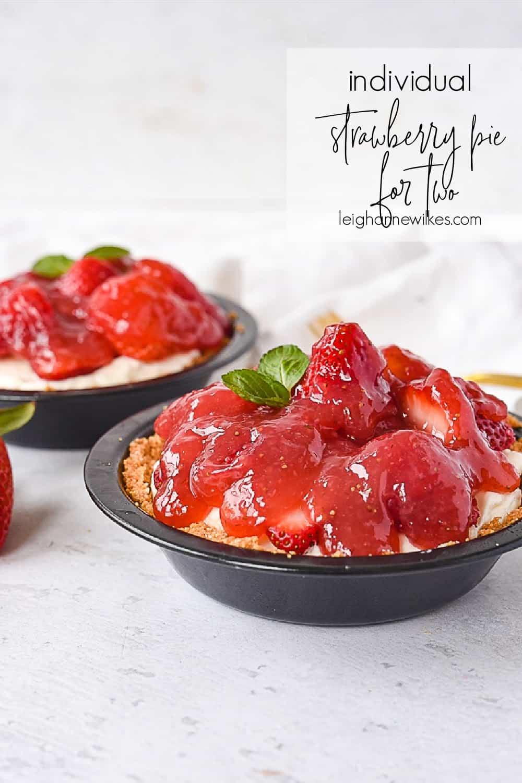 two mini strawberry cream pies