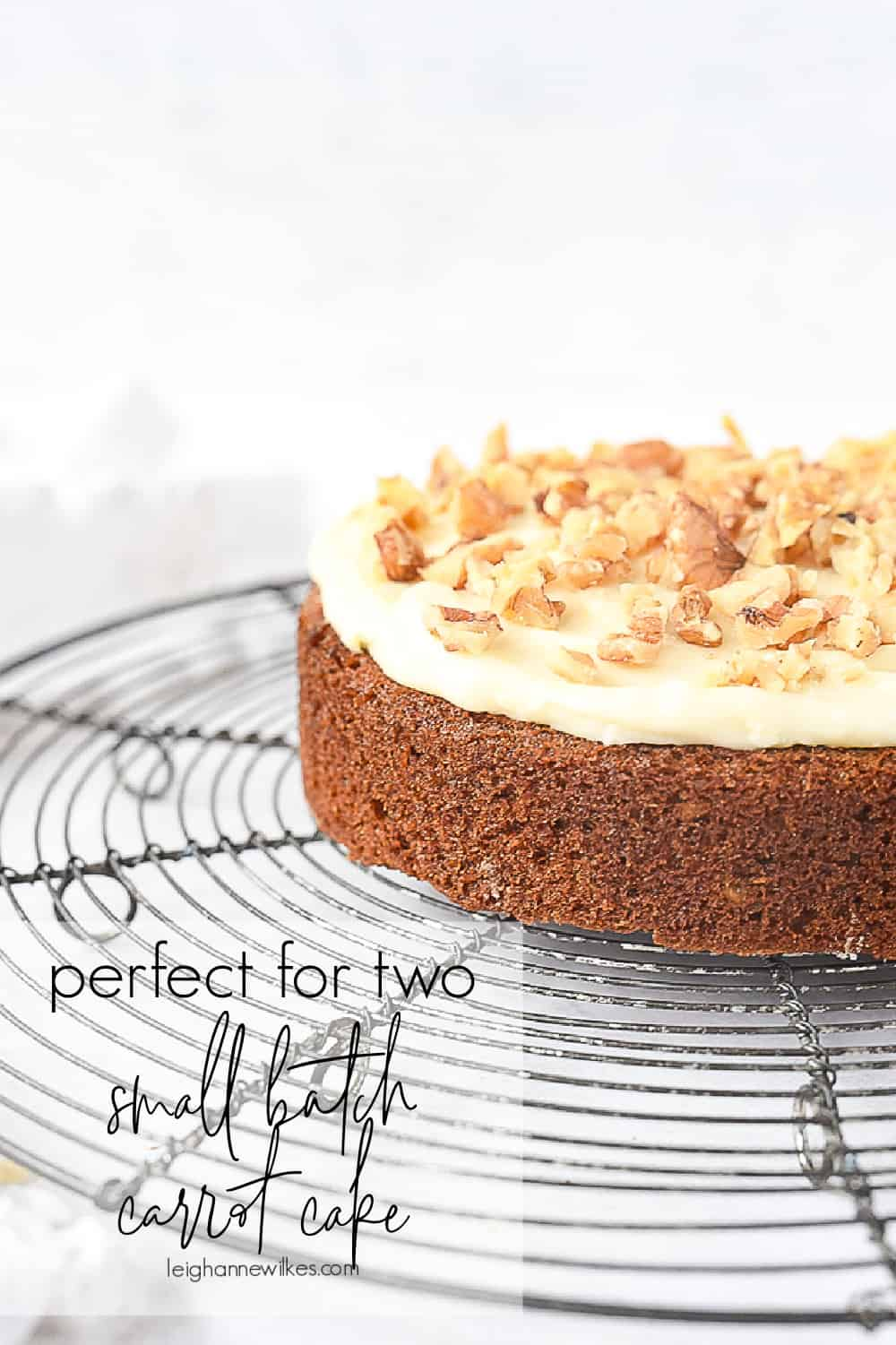 small batch carrot cake with frosting on top