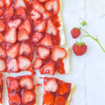 overhead shot of strawberry pizza