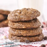 stack of triple chocolate cookies