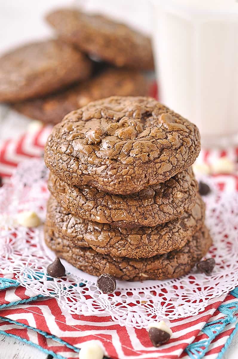 overhead shot of a stack of chocolate cookies