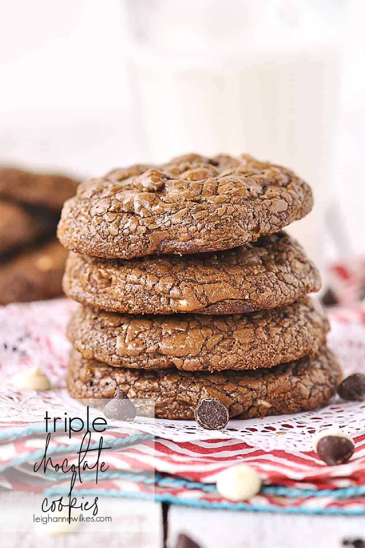 stack of triple chocolate cookies