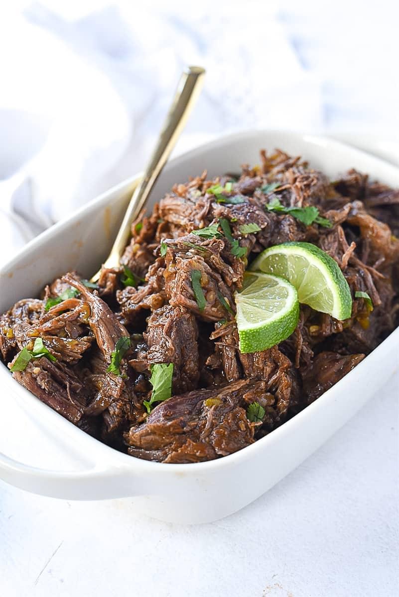 white dish of beef barbacoa