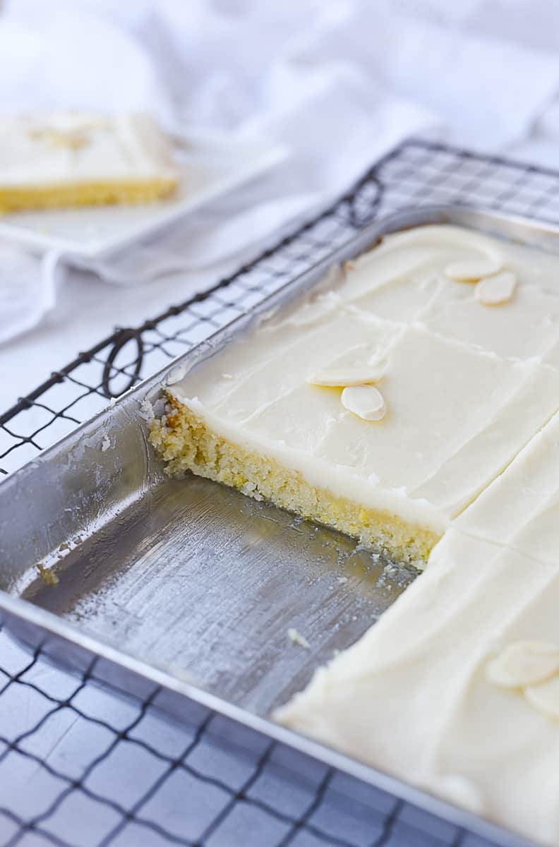 pan of almond texas sheet cake for two