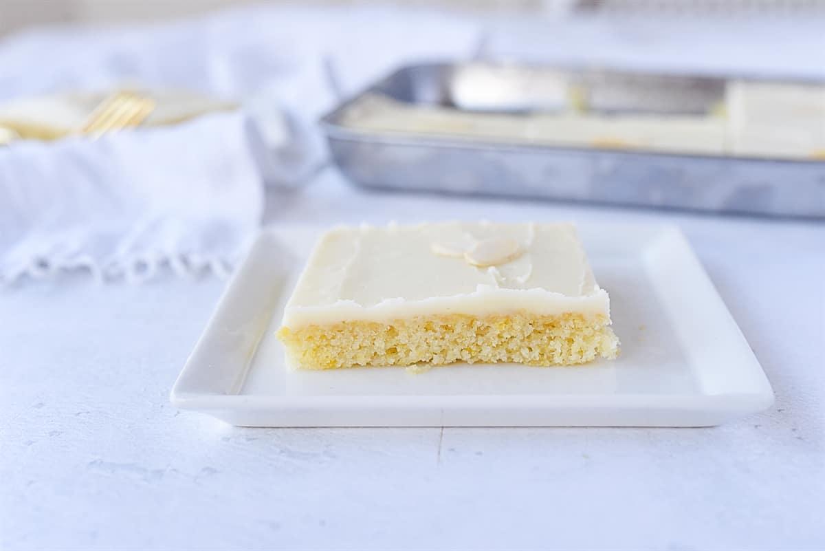 slice of white texas sheet cake