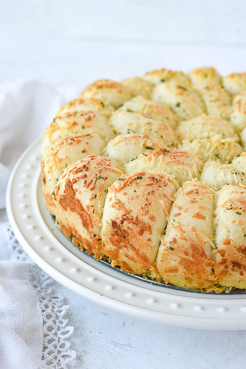 cheesy pull apart bread on a plate