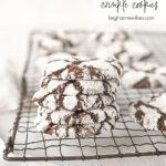 chocolate crinkle cookies on a rack