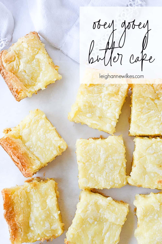 squares of ooey gooey cake