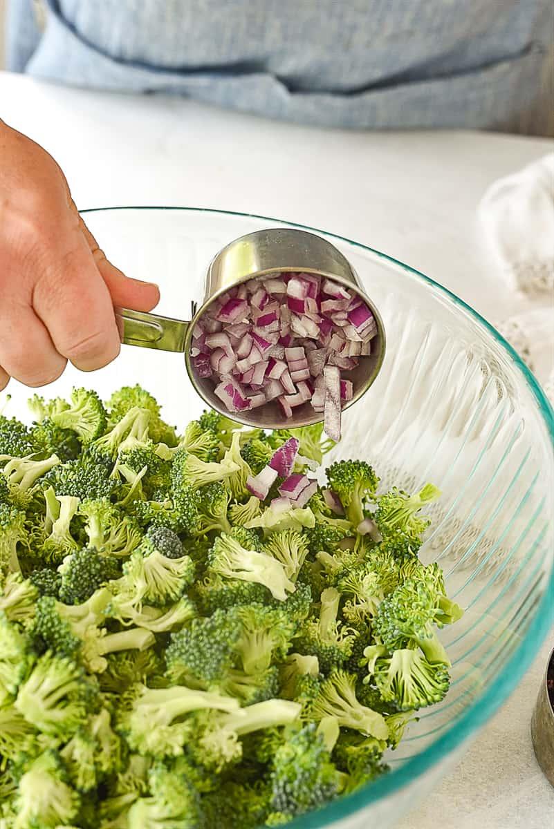 adding onion to broccoli