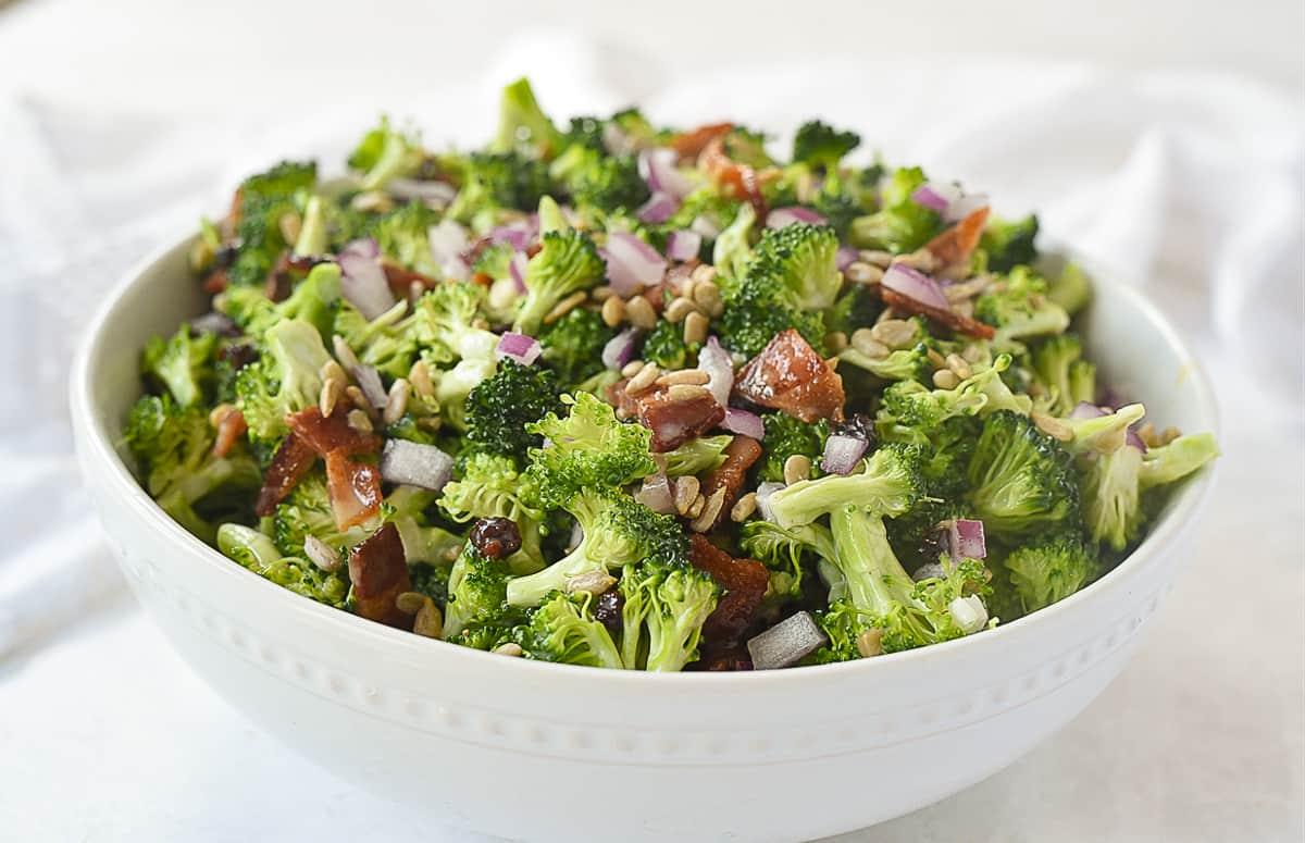 white bowl of broccoli salad