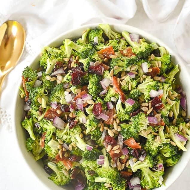 overhead shot of broccoli salad