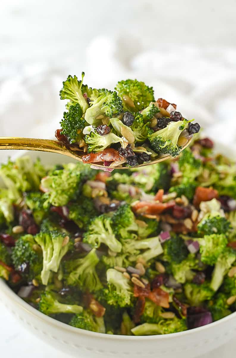 spoonful of broccoli salad