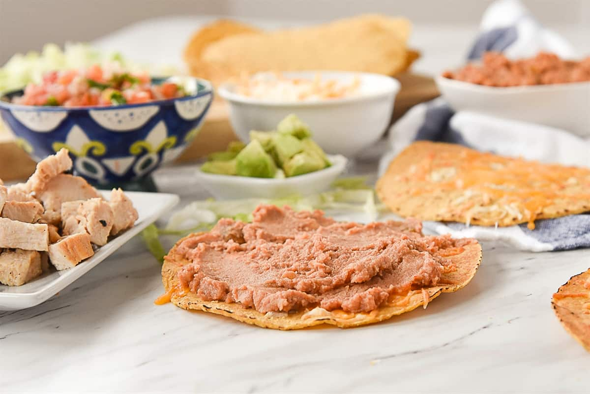 refried beans on a tostada