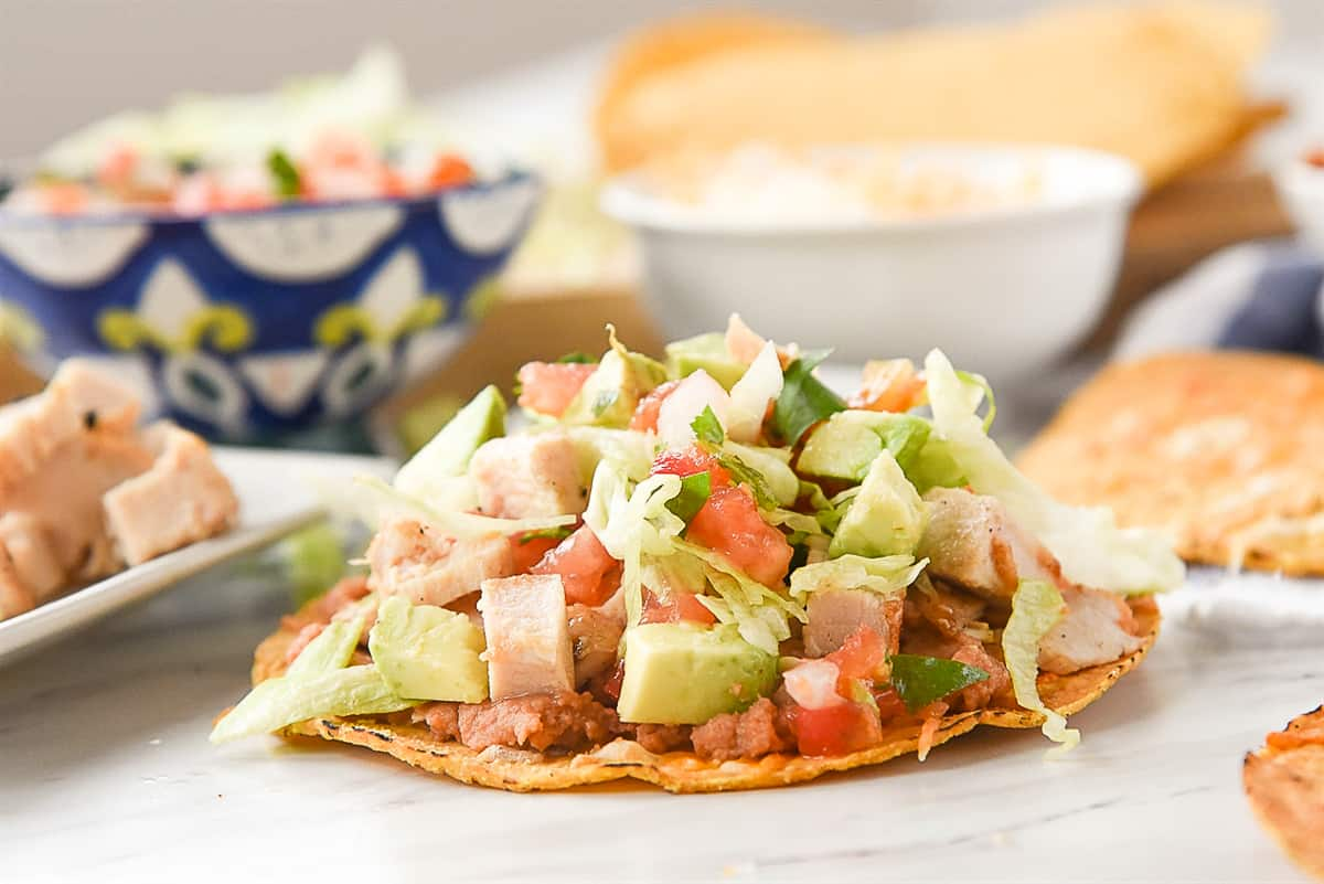 chicken tostada with toppings