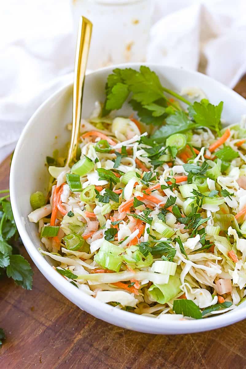 white bowl of coleslaw
