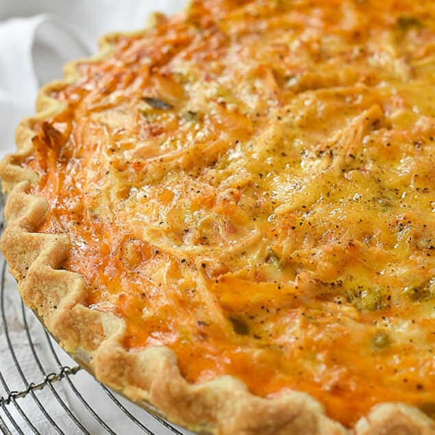 enchilada quiche on a cooling rack