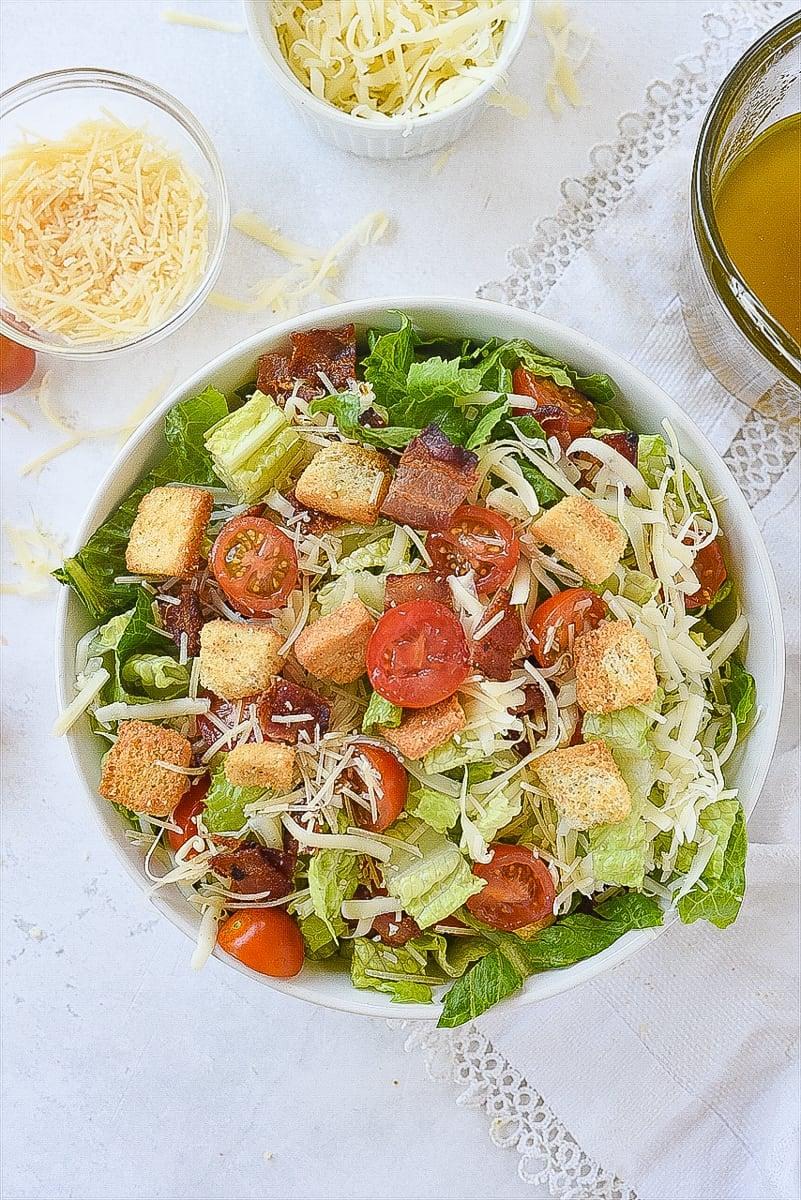overhead shot of house salad