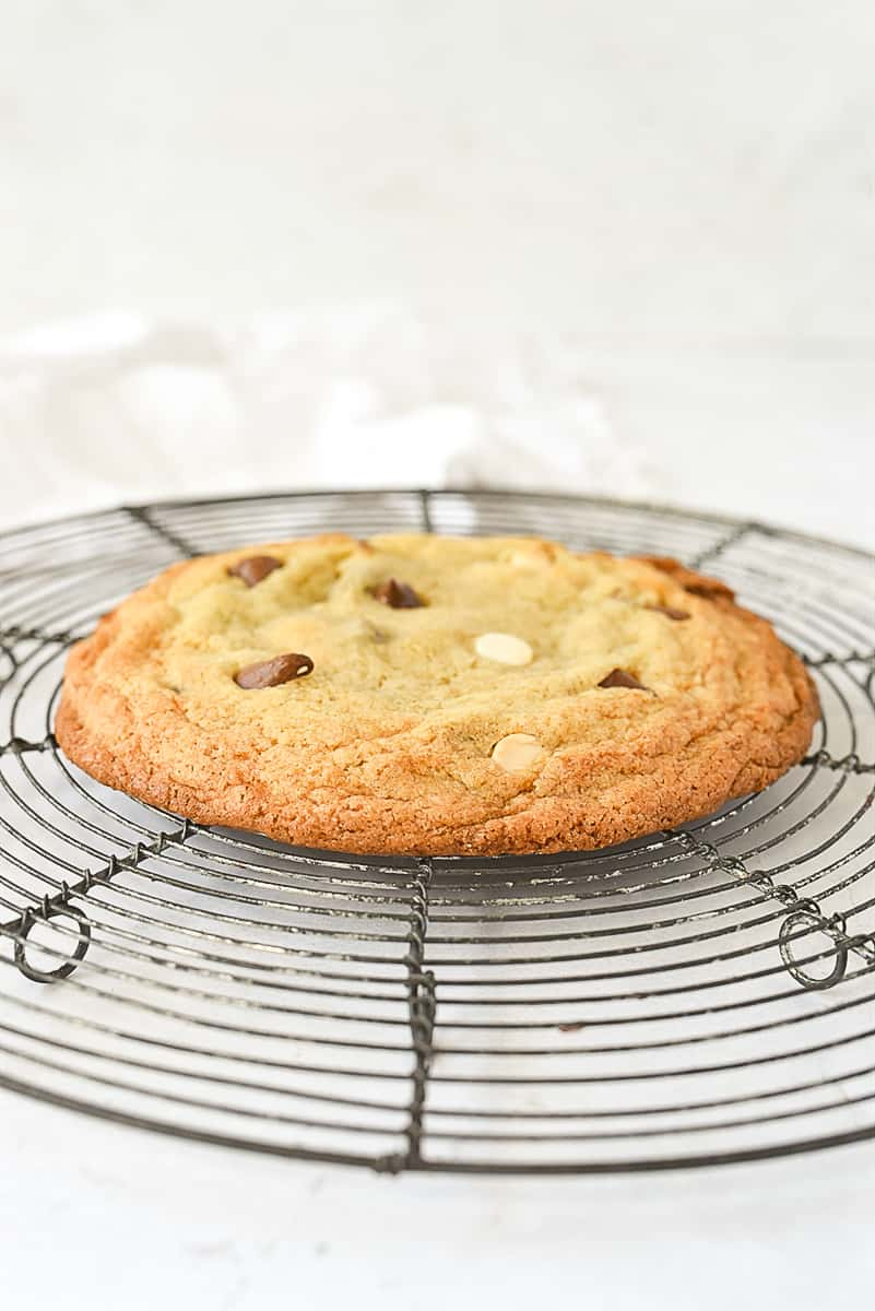 an individual chocolate chip cookie on a cooling rack