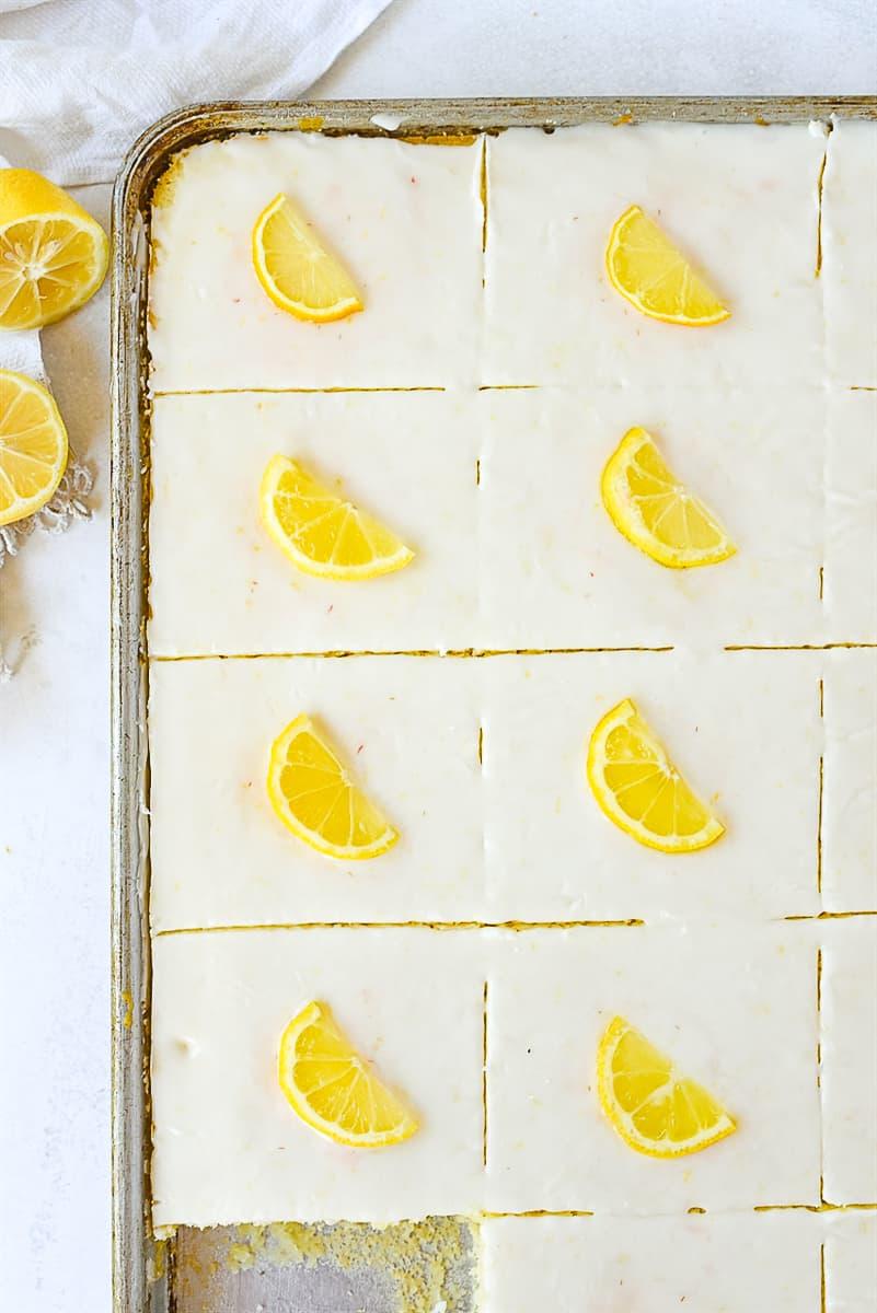 overhead shot of lemon texas sheet cake