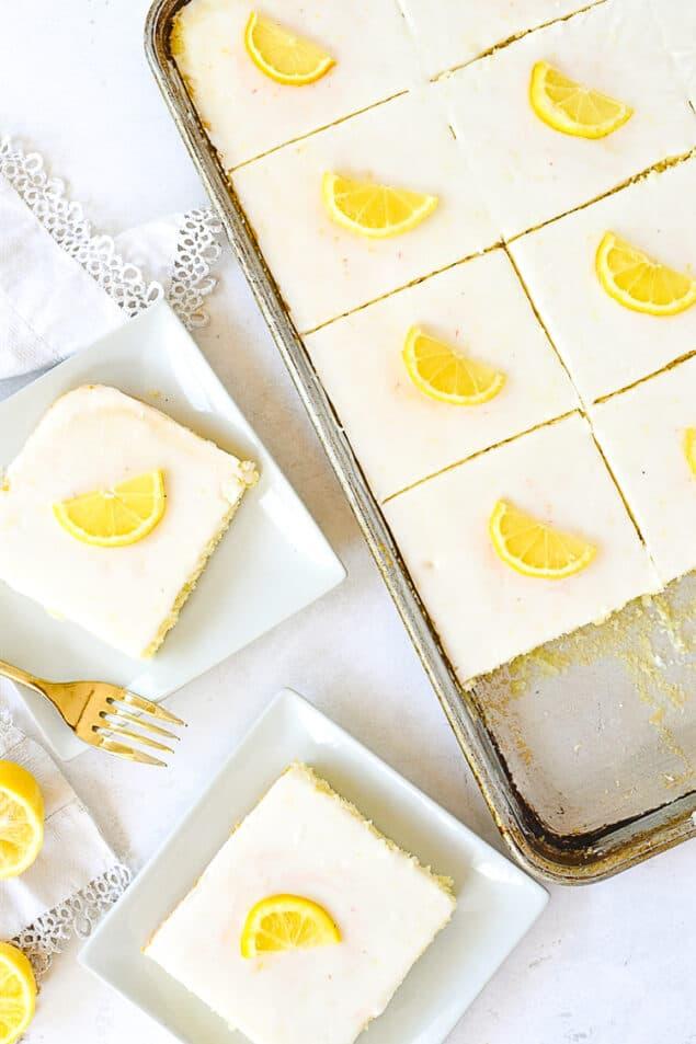 overhead shot of lemon sheet cake