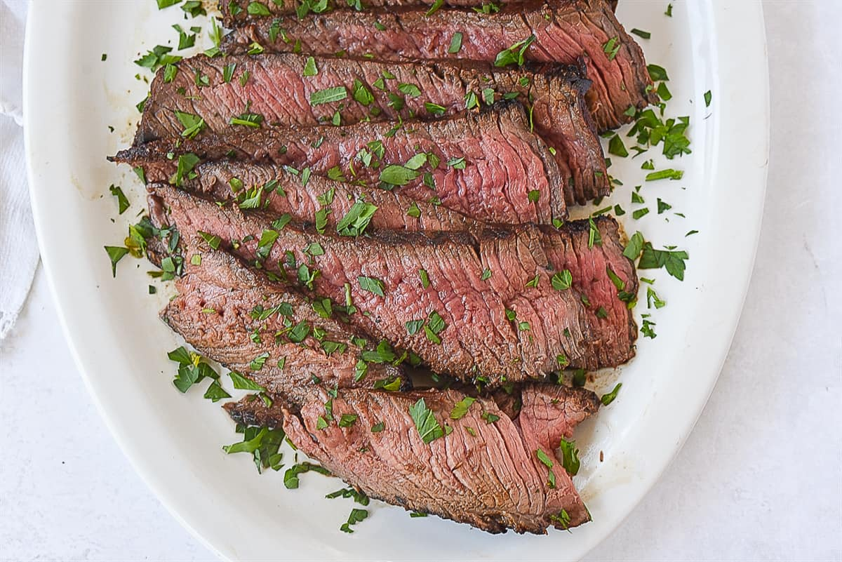 slices of london broil on a plate