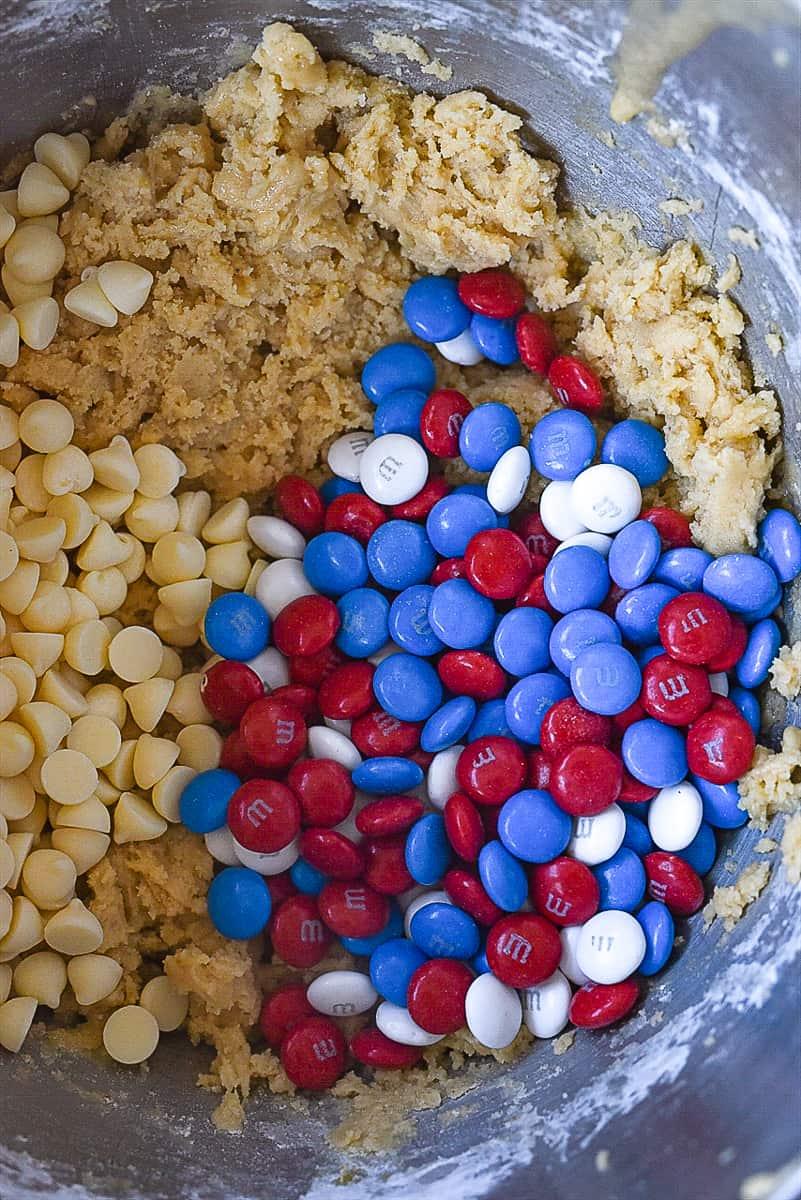 M & M Blondie dough in bowl.