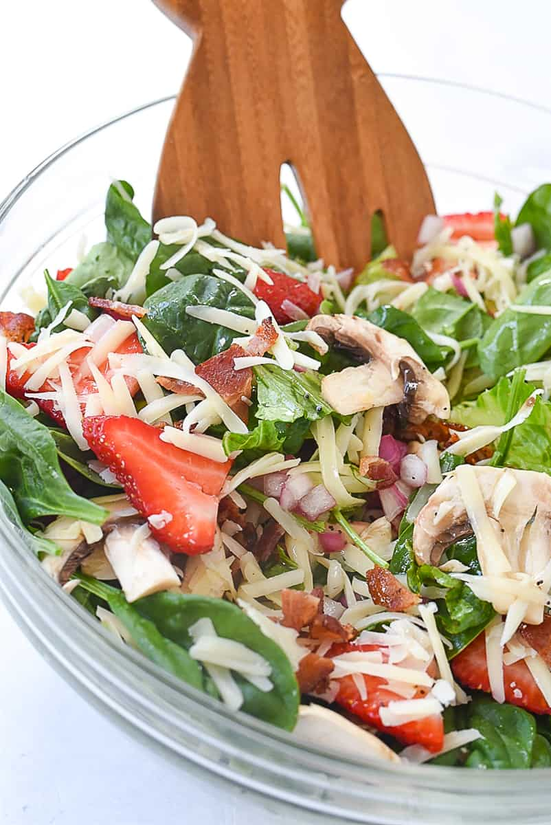 spinach salad in a bowl