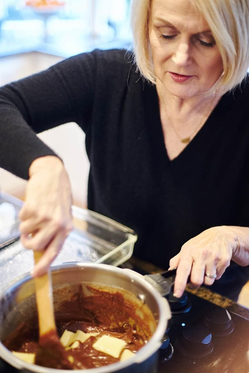 stirring pot of fudge