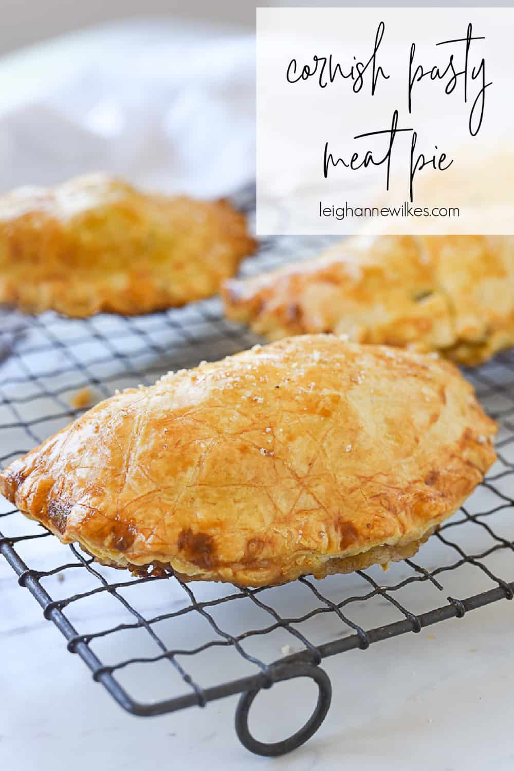 cornish pasty on a cooling rack