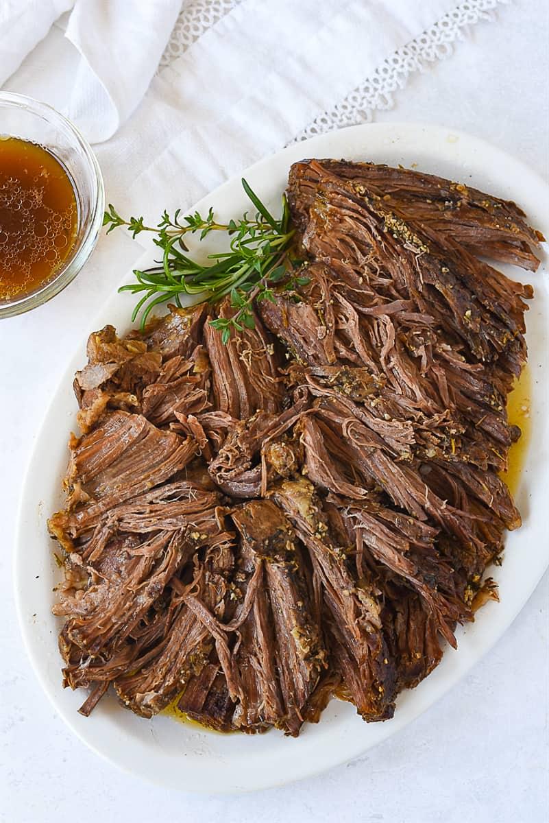 overhead shot of sliced tri tip roast