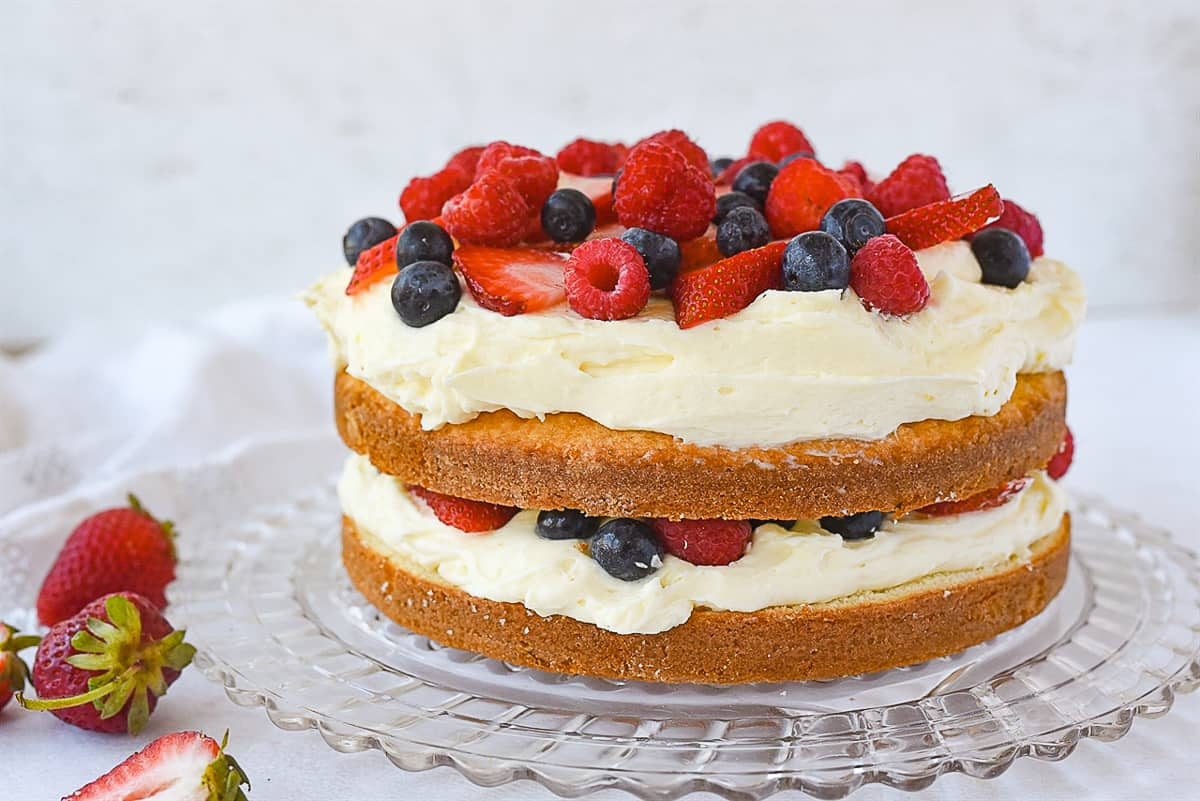 side view of a lemon berry cake