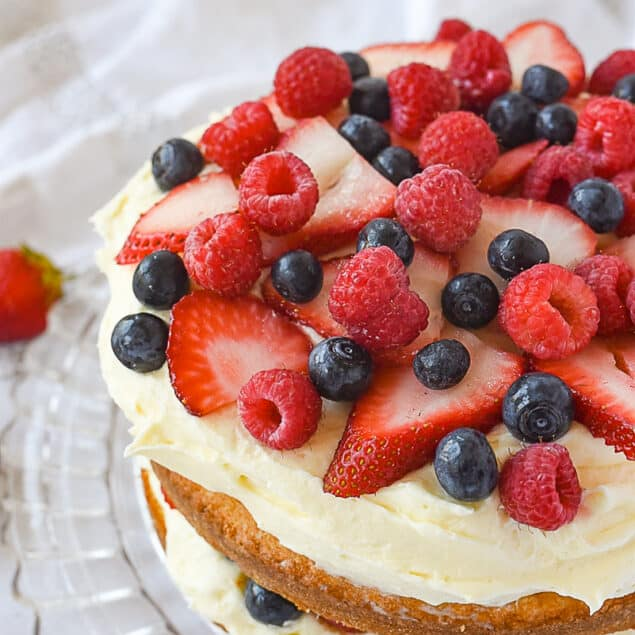 cake topped with fresh berries