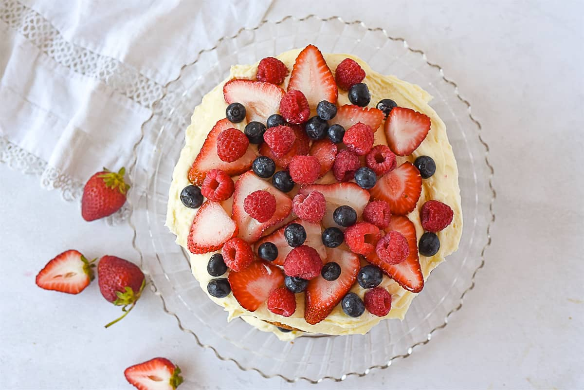 overhead shot of cake with berries on top