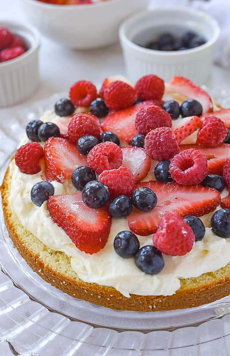 berries on cake layer