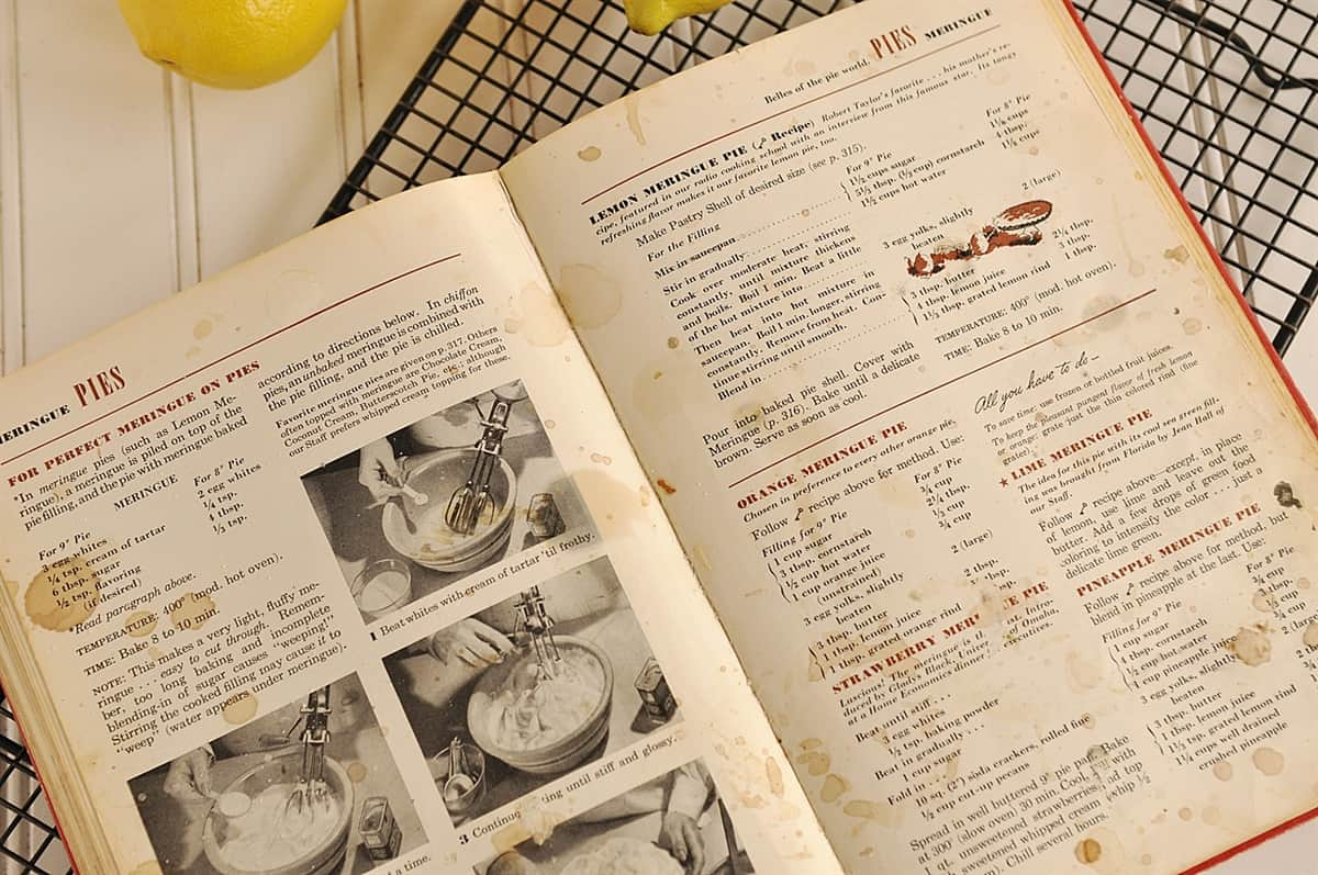 old family cookbook open