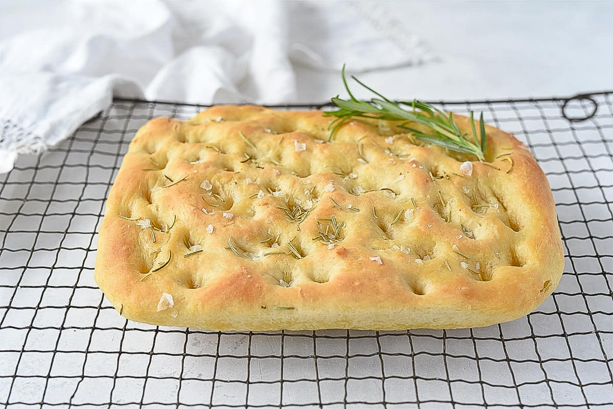 side view of focaccia bread