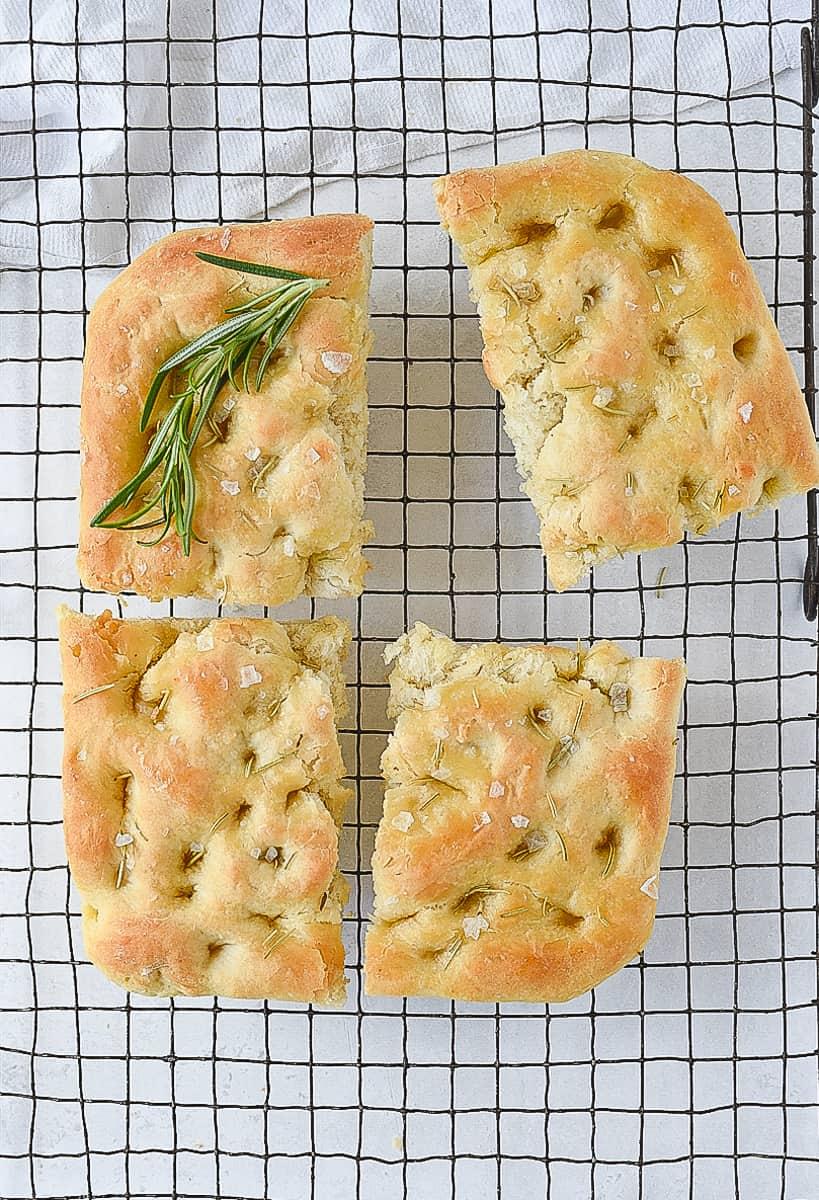 overhead shot of focaccia bread