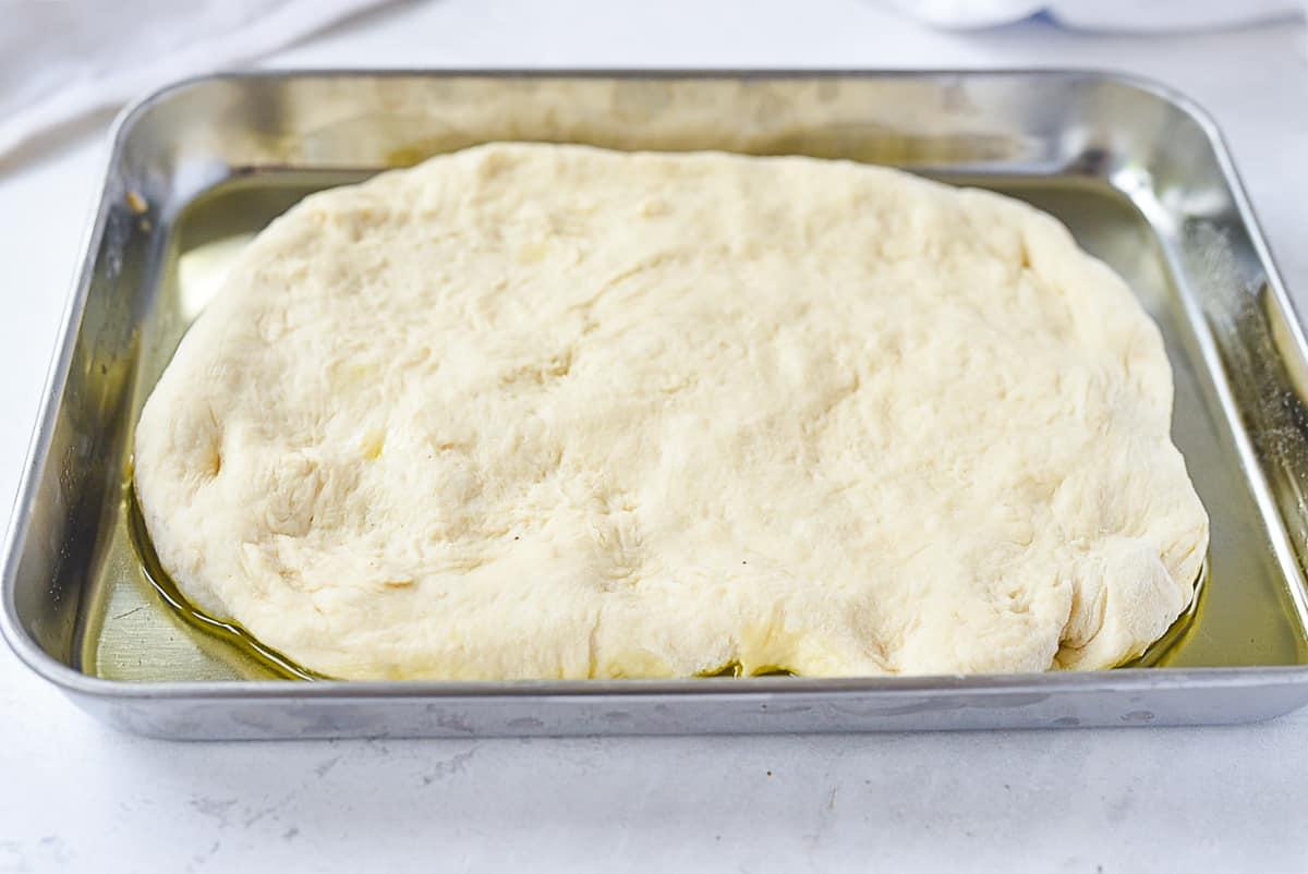 focaccia bread dough in pan