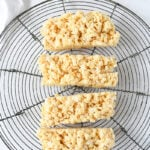 overhead shot of small batch rice krispie treats