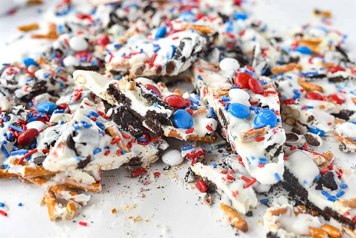 broken up pieces of cookie bark