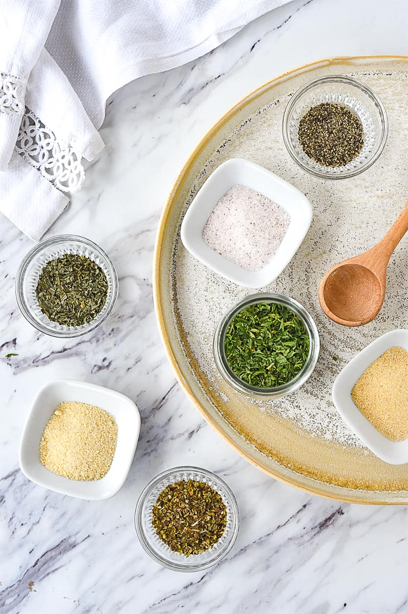 garlic herb mix ingredients on a plate
