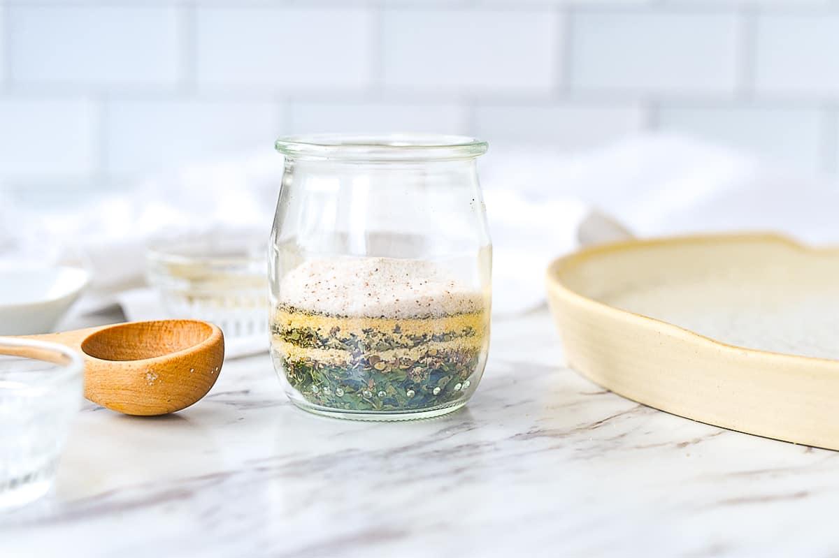 garlic herb mixture in a jar