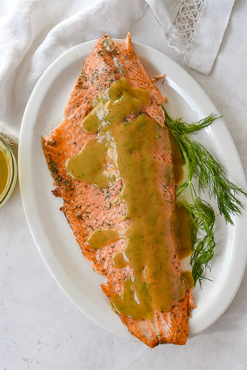 overhead shot of marinated salmon